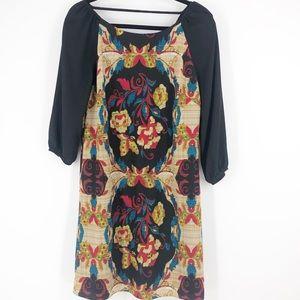 Anthropologie Maeve Black Floral Shift Dress